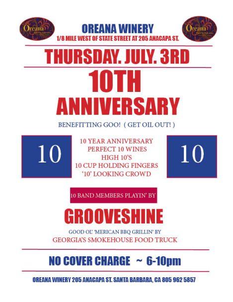 Oreana Winery 10th Anniversary